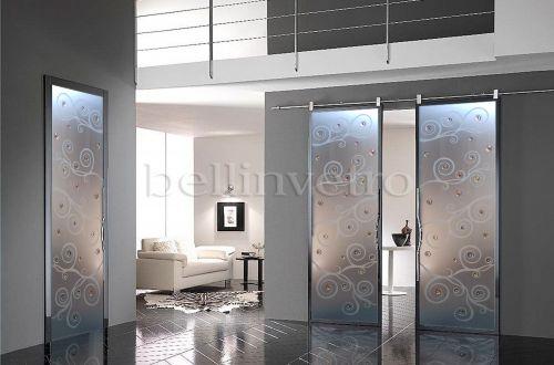 Produzione di vetrate artistiche e porte in vetro palermo - Porta scorrevole vetro satinato ...